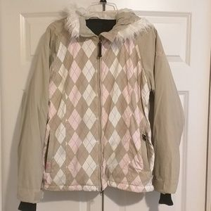 Roxy argyle snowboard jacket, size M